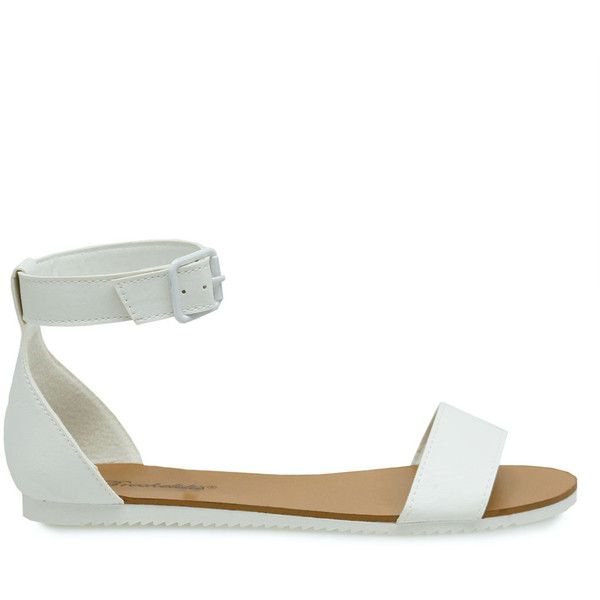 e1a77a7d63b Joy-33 White Ankle Strap Sleek Flat Sandals (655 TWD) ❤ liked on Polyvore  featuring shoes