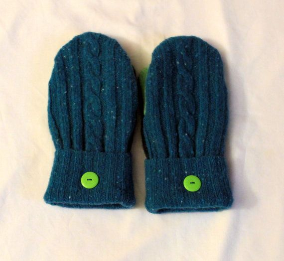 Felted Wool Mittens Made With Recycled Sweaters  by Grandmasandeze, $23.00