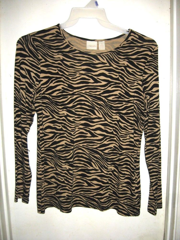 4db24d2b2a9 Chico s Tan Black Zebra Striped Animal Print Long Sleeve Top 1 M 8  Chicos   Blouse