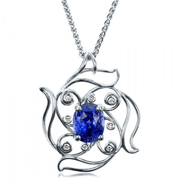 Custom blue sapphire pendant sapphire wedding guest attire and custom blue sapphire pendant joseph jewelry bellevue seattle designers of fine custom aloadofball Image collections