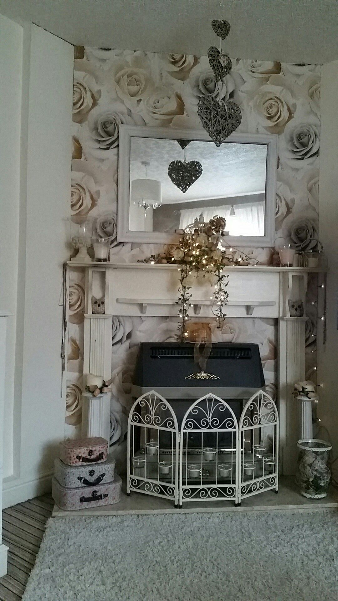 My own little shabby chic fireplace. Up cycled a £20 fire surround ...