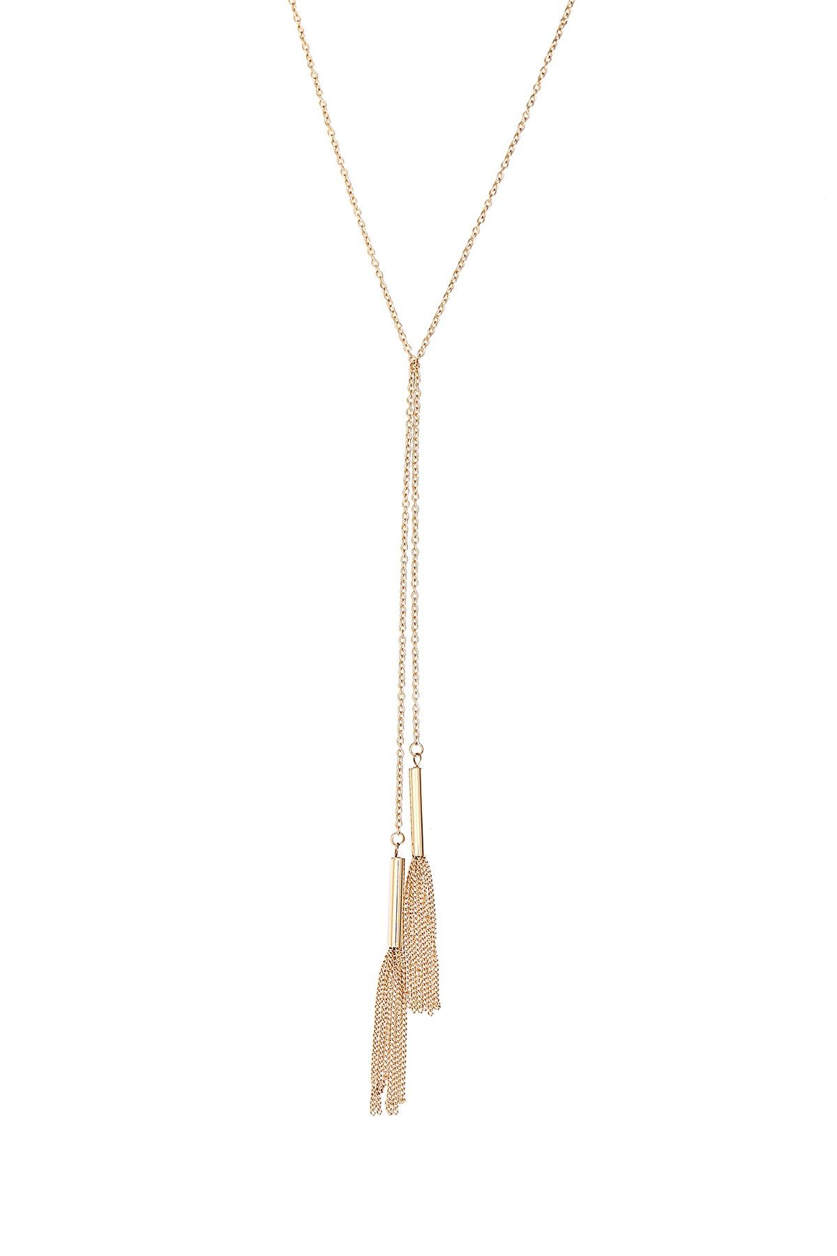 Double Twist Fringe Tassel Necklace