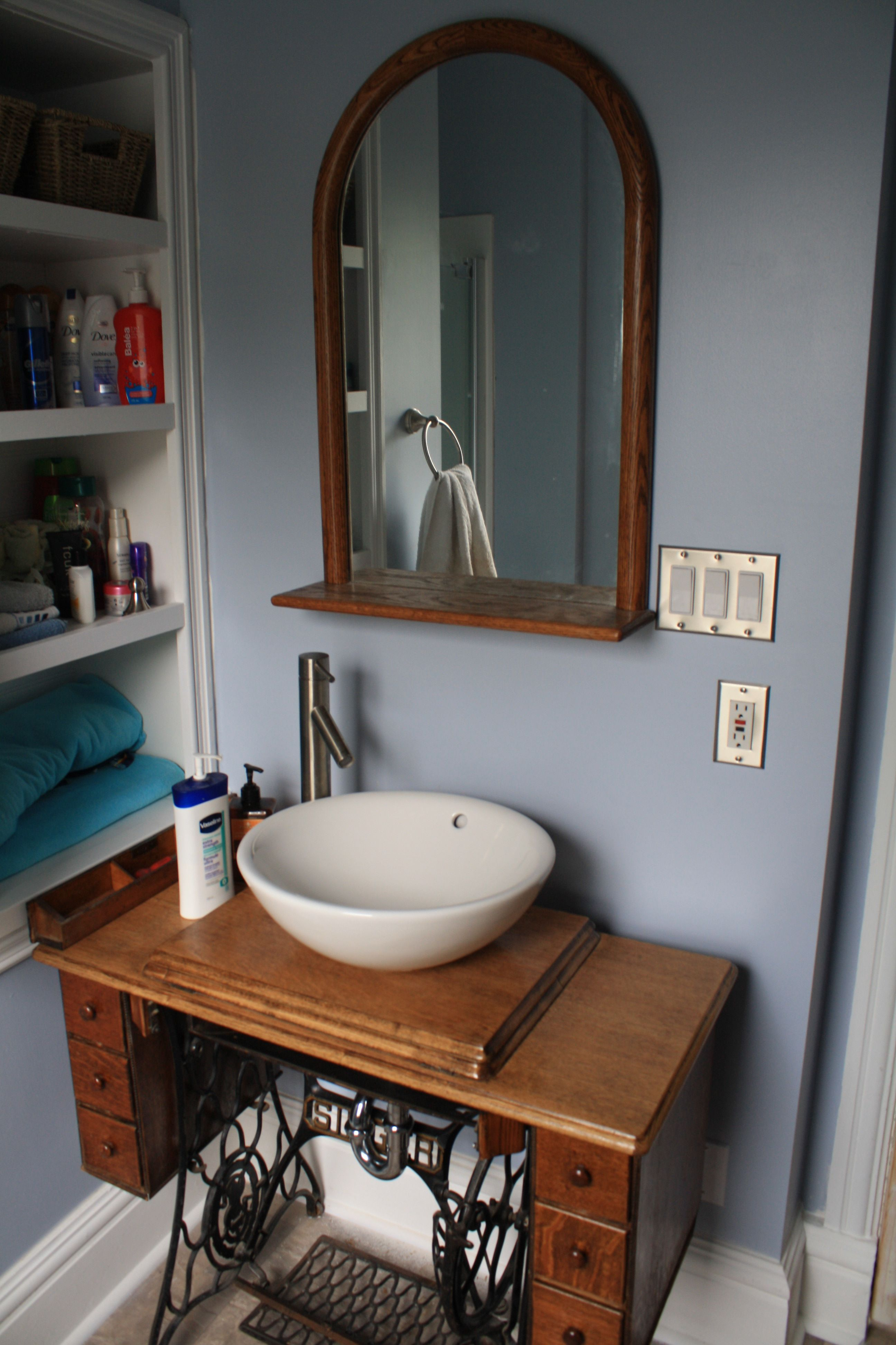 Singer Sewing Machine Converted To Bathroom Vanity Bathroom