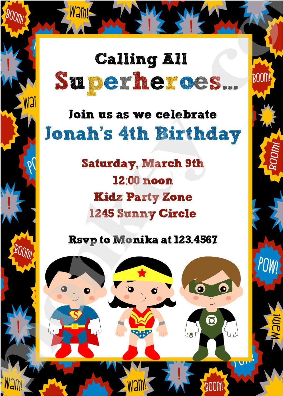Superhero Birthday Invitations. $1.00, via Etsy. | Logan\'s 4th ...