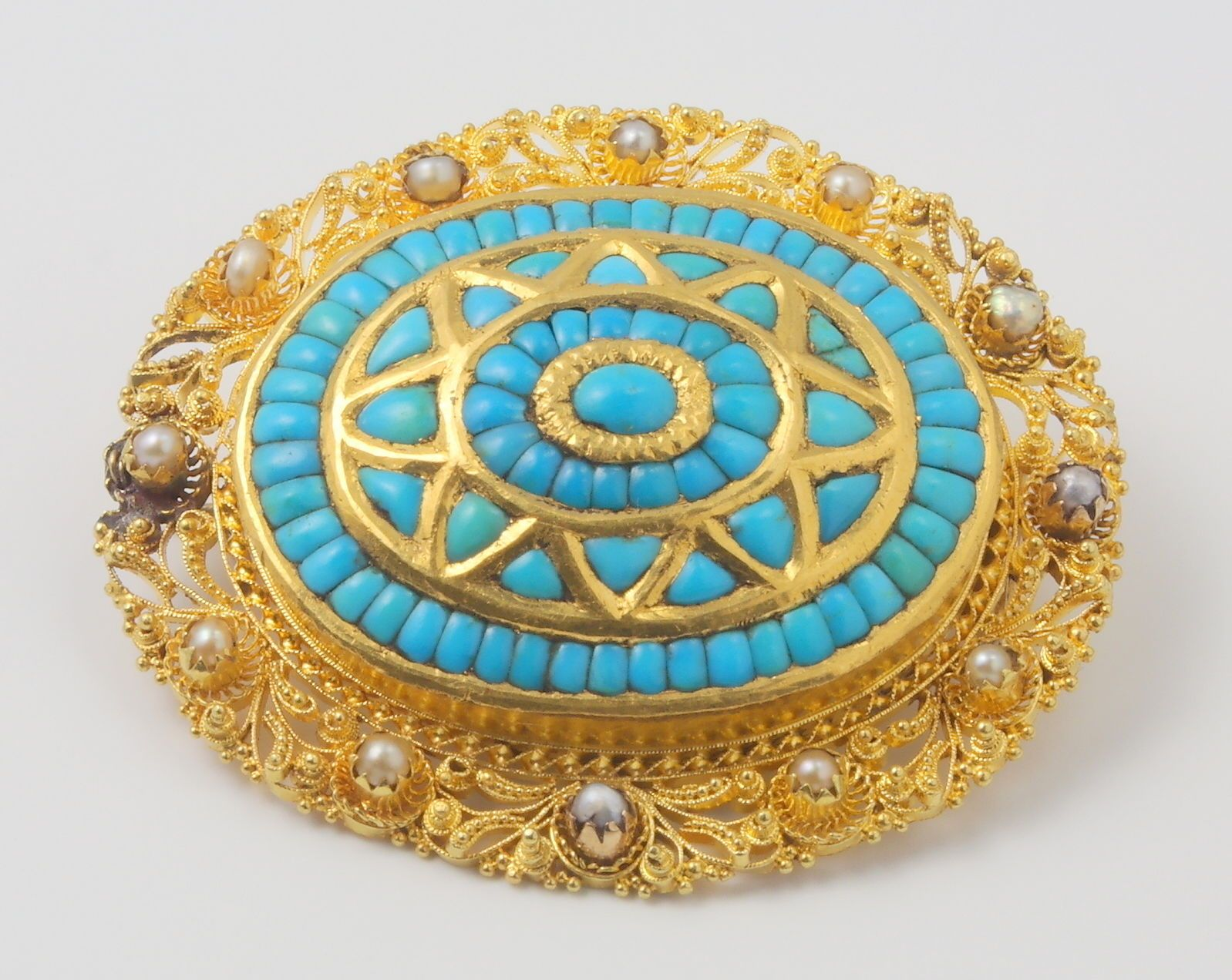 Heavy Antique Victorian 18ct Yellow Gold Turquoise & Pearl Brooch