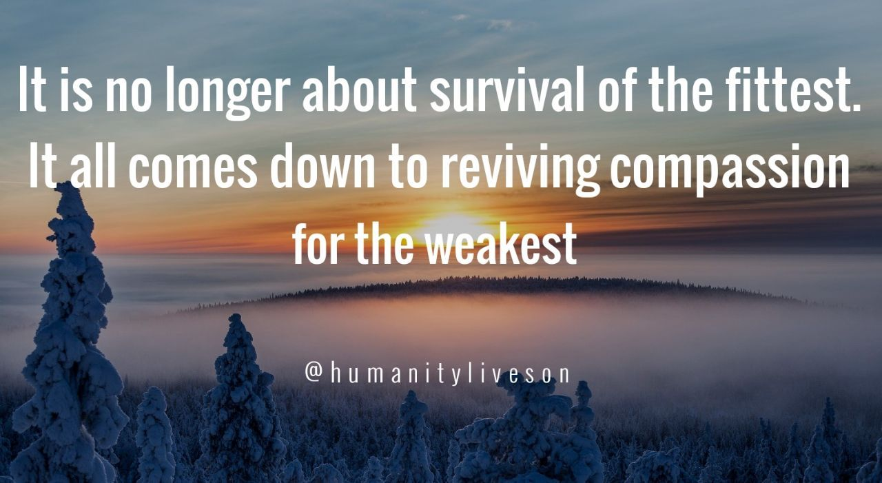 It Is No Longer About Survival Of The Fittest It All Comes Down To Reviving Compassion For The Weakest Related Survival Compassion Daily Quotes