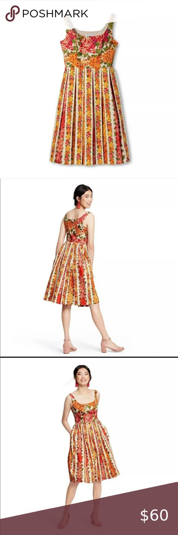 Isaac Mizrahi For Target Garden Party Orange Dress Orange Floral Dress Pleated Dress Target Womens Dresses [ 1740 x 580 Pixel ]