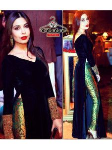 0016a0853cea8 Stylish Velvet   Banarasi Dress