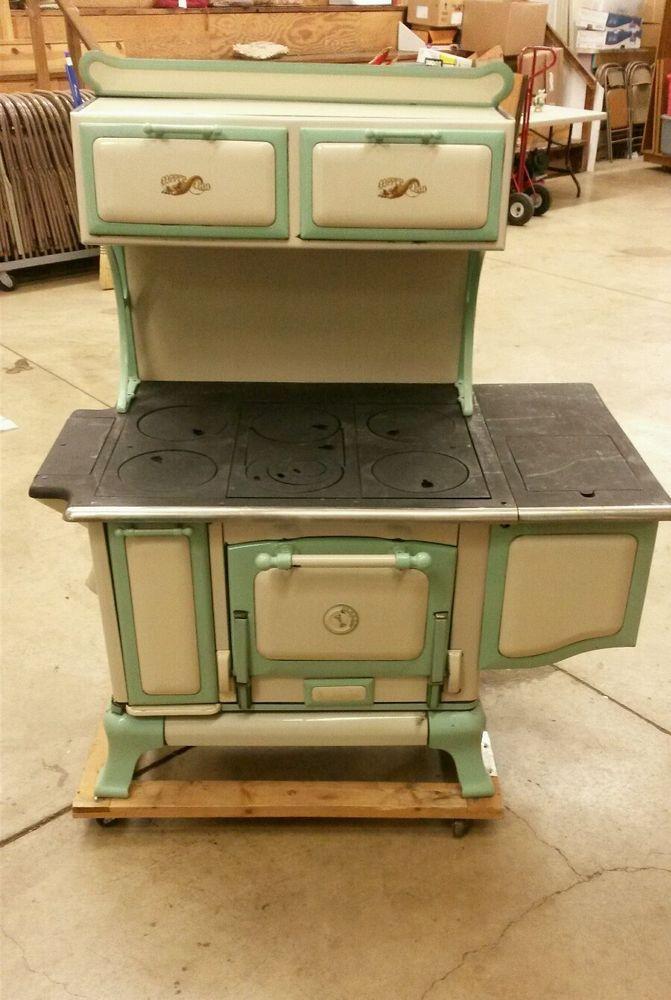 Details About Antique Wood Cook Stove Porcelain Enamel