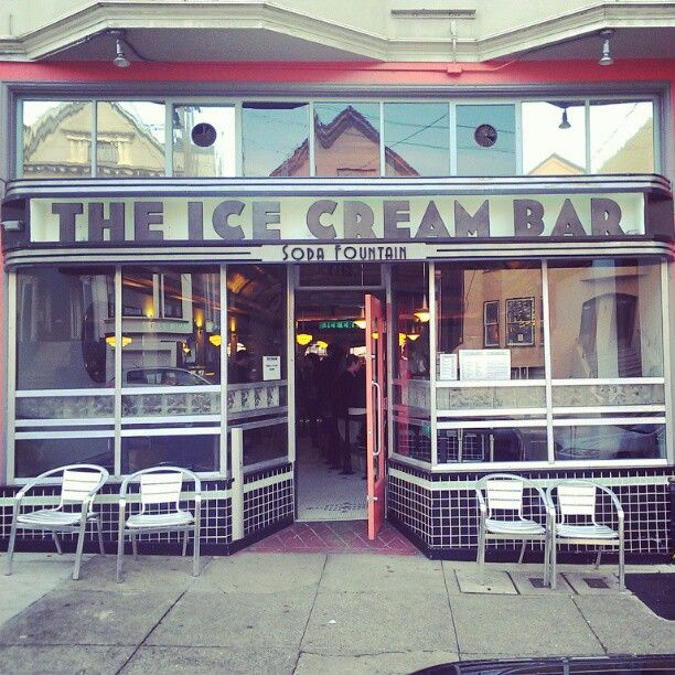 The Ice Cream Bar + Soda Fountain - Cole Valley. Bringing back the tradition of the soda jerks and handmade, artisanal drink ingredients, including COCKTAILS! And they're doing so in style with a vintage aesthetic that carries from the art deco letter styling to the black lacquered tabletops. Root beer floats are great for the kids. But how 'bout a champagne float made with a scoop of artesanal rasberry-cantelope gelato for mommy or daddy...?