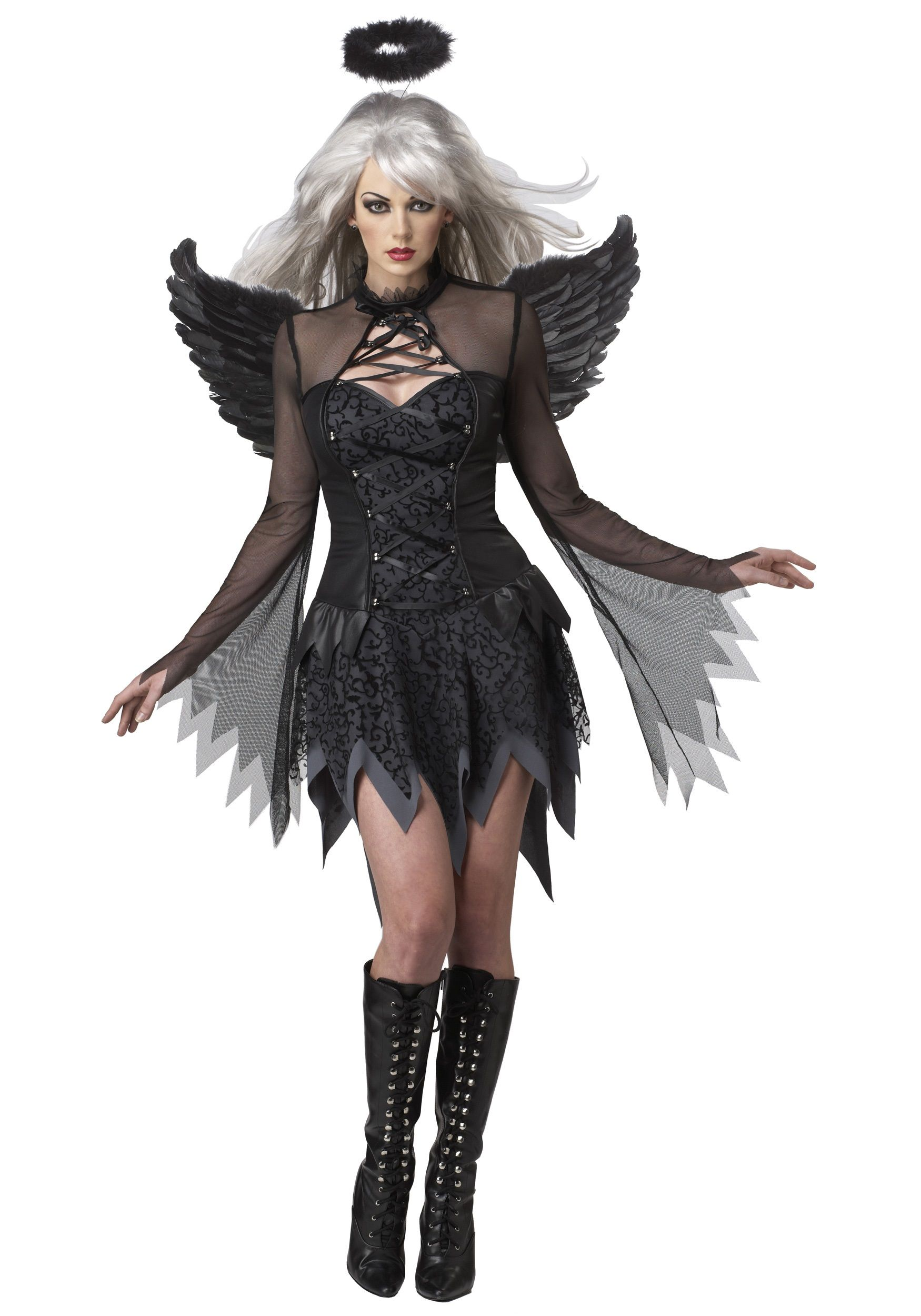 Fallen Dark Angel Ladies Fancy Dress Halloween Womens Adults Gothic Costume New