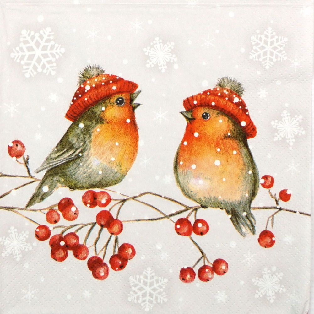 4x PAPER NAPKINS for Decoupage Craft CHRISTMAS BAUBLES ROBIN SALE