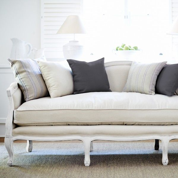 French Provincial Sofa Antique White Frame 3 Seater