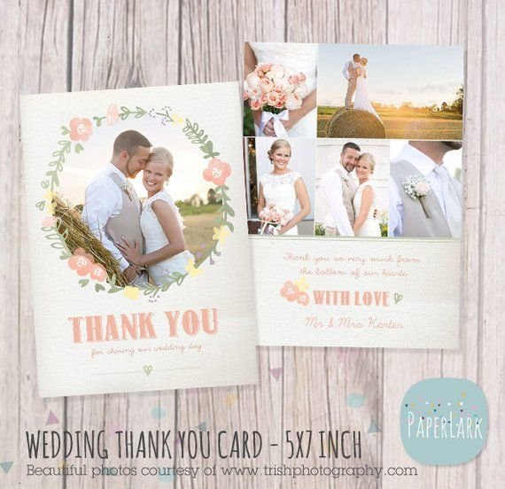Wedding Thank You Card Photoshop Template Aw014 Instant