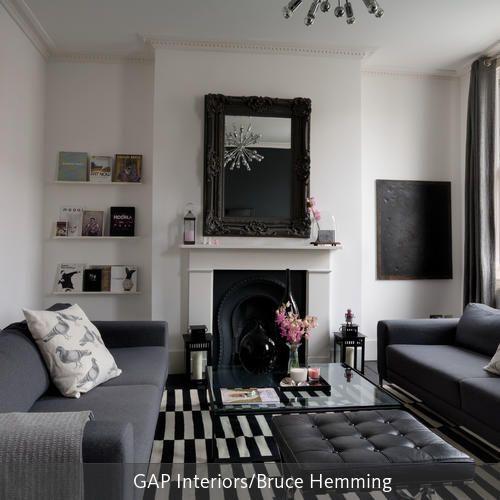 Klassisches Wohnzimmer in Schwarz-Weiß Cozy - moderne wohnzimmer schwarz weiss