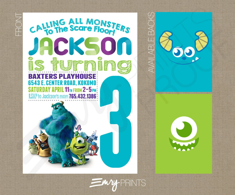 Monsters Inc. Birthday Invitation Chalk Birthday Printable Custom ...