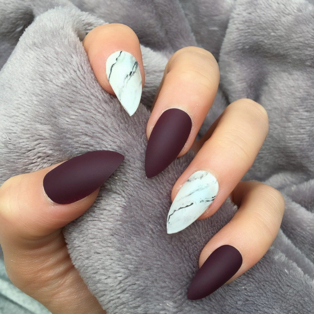 Maroon Matte Marble Stiletto Matte Nails Diy Marble Nail Art Matte Maroon Nails