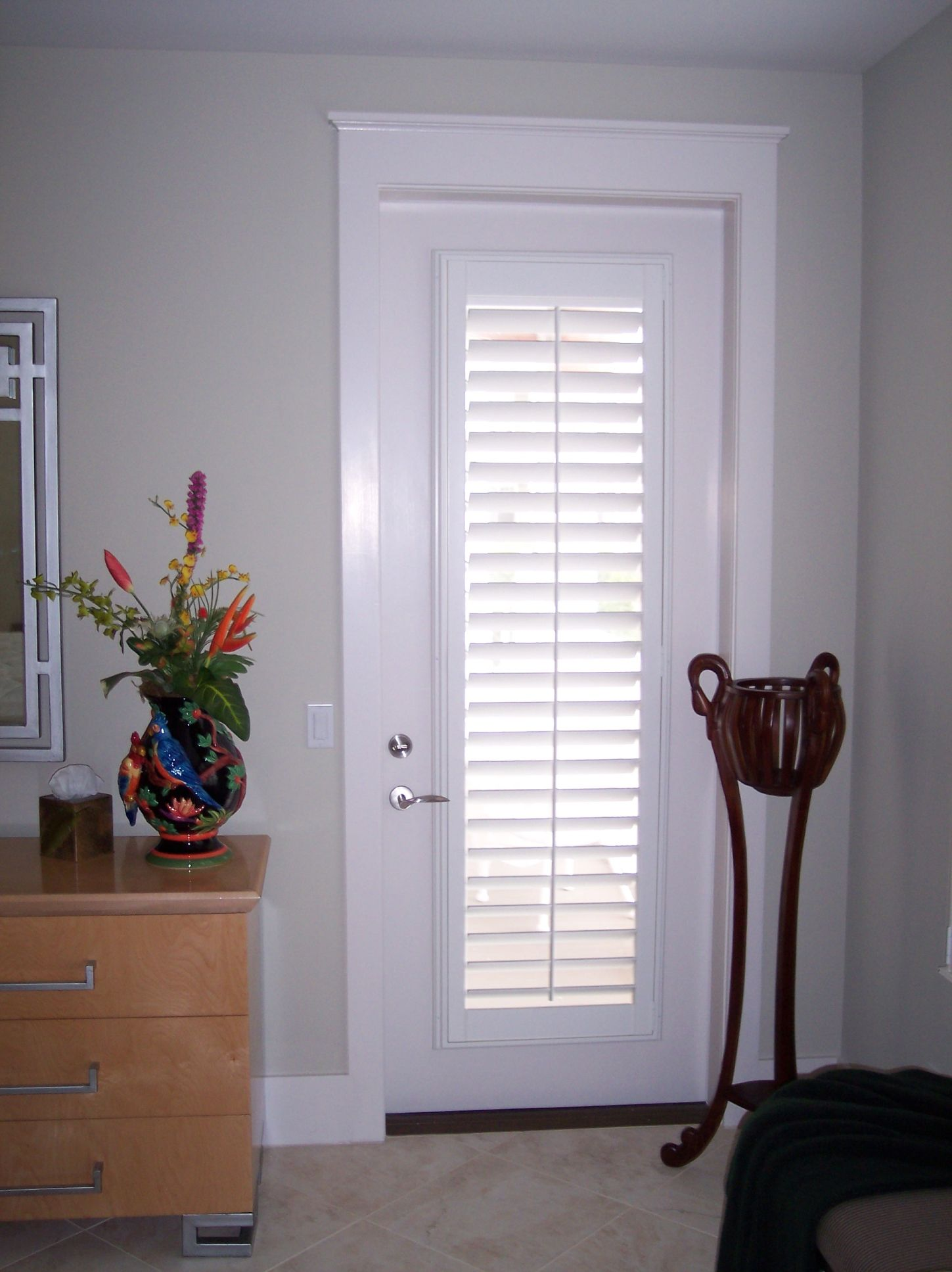Door shutters plantation shutters 3 5 in louver with for Wood doors and shutters