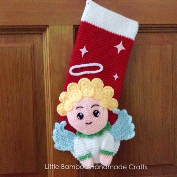 Angel Christmas Stocking crochet pattern by Little Bamboo Handmade ...