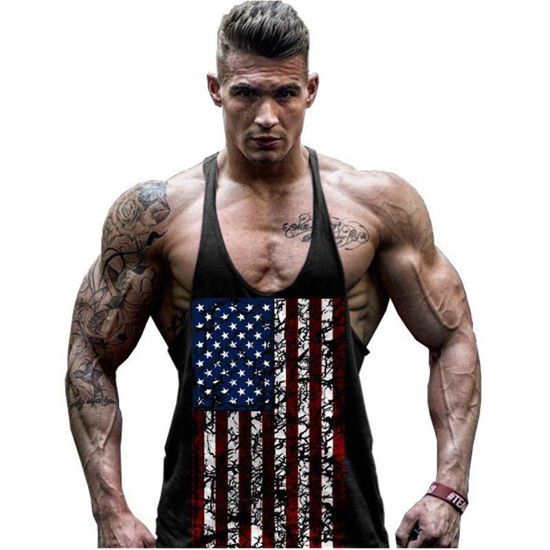 cbd20903fbd33 Hot Sale Men s American Flag Design Stringer Singlets Cotton Gyms Tank Tops  Muscular Fitness Bodybuilding Tank Top Skull Vest