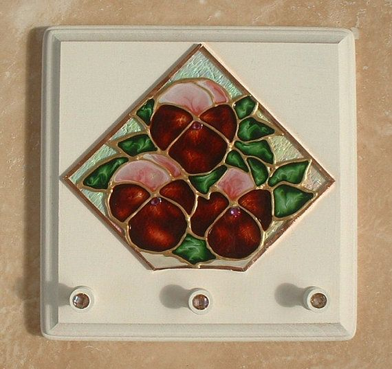 Original Stained Glass Flower Painting Hand Painted On Textured Art