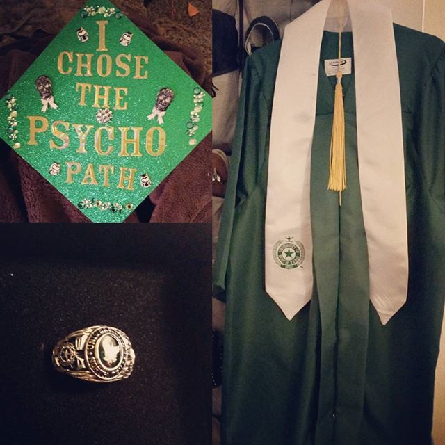 I Chose The Psycho Path Unt Grad Cap Grad Caps Pinterest