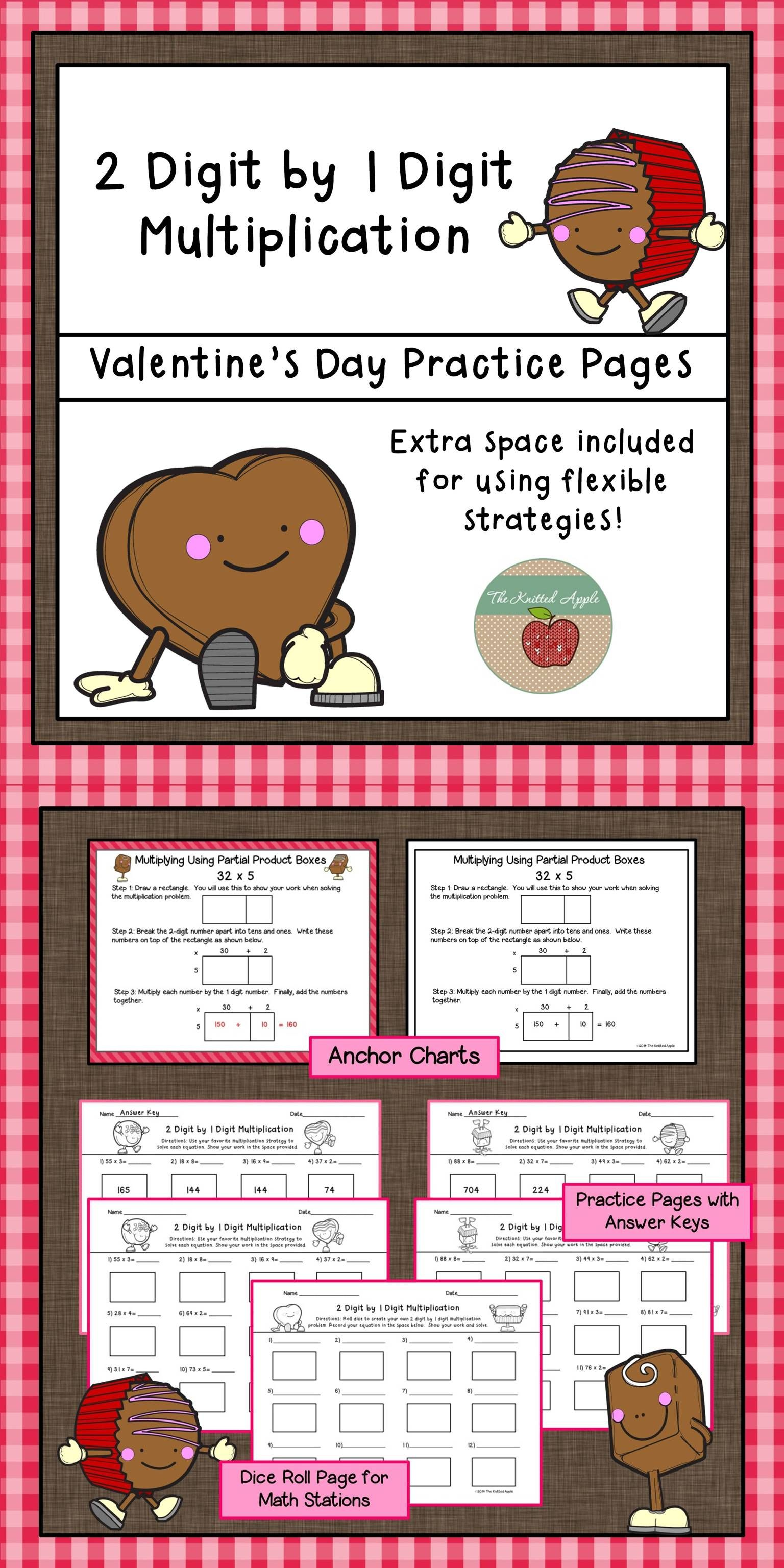 2 Digit By 1 Digit Multiplication Using Partial Products Valentine S Day Theme