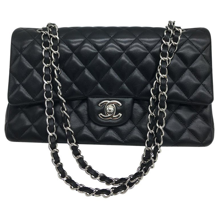 9c232ed197a0 Chanel Flap Bag Medium Silver Top Handle Bag, Black in 2019 ...