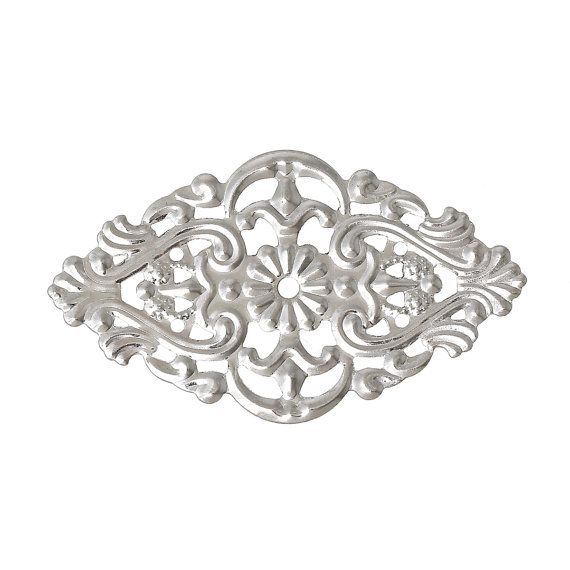 100 Silver Tone Metal Filigree Rhombus Embellishment by SmartParts