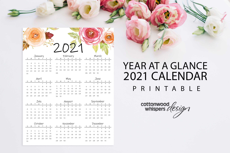Year At A Glance Calendar 2021 Printable Calendar Letter Etsy In 2020 At A Glance Calendar Calendar Printables Calendar