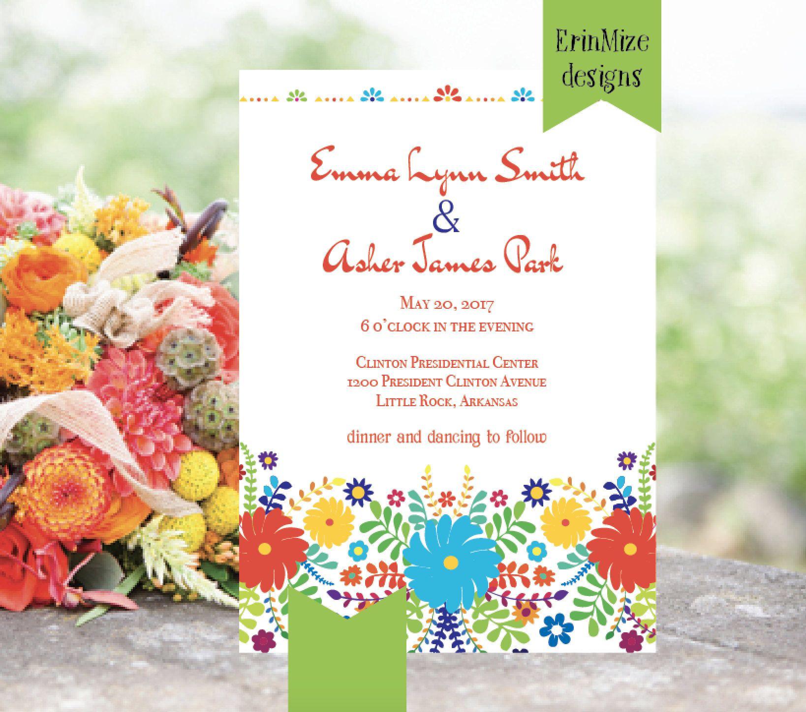 Mexican themed Wedding Invitation Bright Wedding Invitation Red