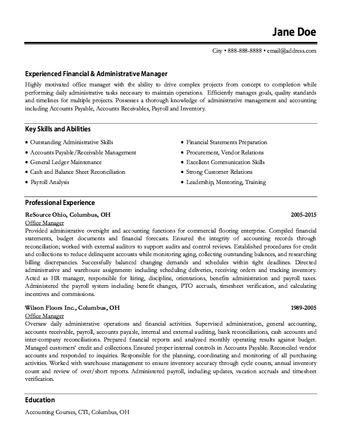 Example Of Office Manager Resume Resumesdesign Office Manager Resume Manager Resume Sample Resume