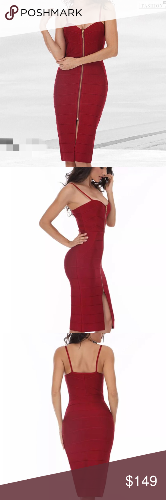 Dark red bandage bodycon evening party dress Available size XS/00-0, size S/2-4, size M/6-8, size L/10-12, stretchable, super good quality!! good for work, special event, wedding, holiday, new year eve party, night out, date night!!! Dresses