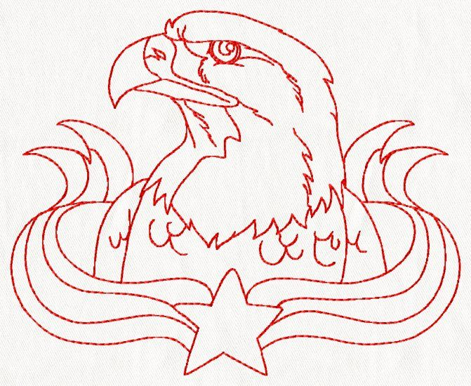 4th Of July Redwork Embroidery Set Clipart Redwork