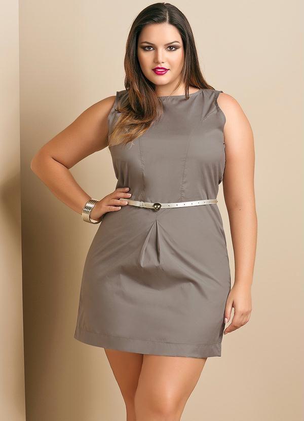 db55e75e9c Vestido Estilo Alfaiataria Plus Size Cinza - Quintess