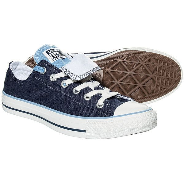 Converse Double Tongue Shoes (Navy/White) ($66) ❤ liked on Polyvore featuring shoes, 18. converse., converse footwear, navy shoes, checkered shoes, navy white shoes and converse shoes