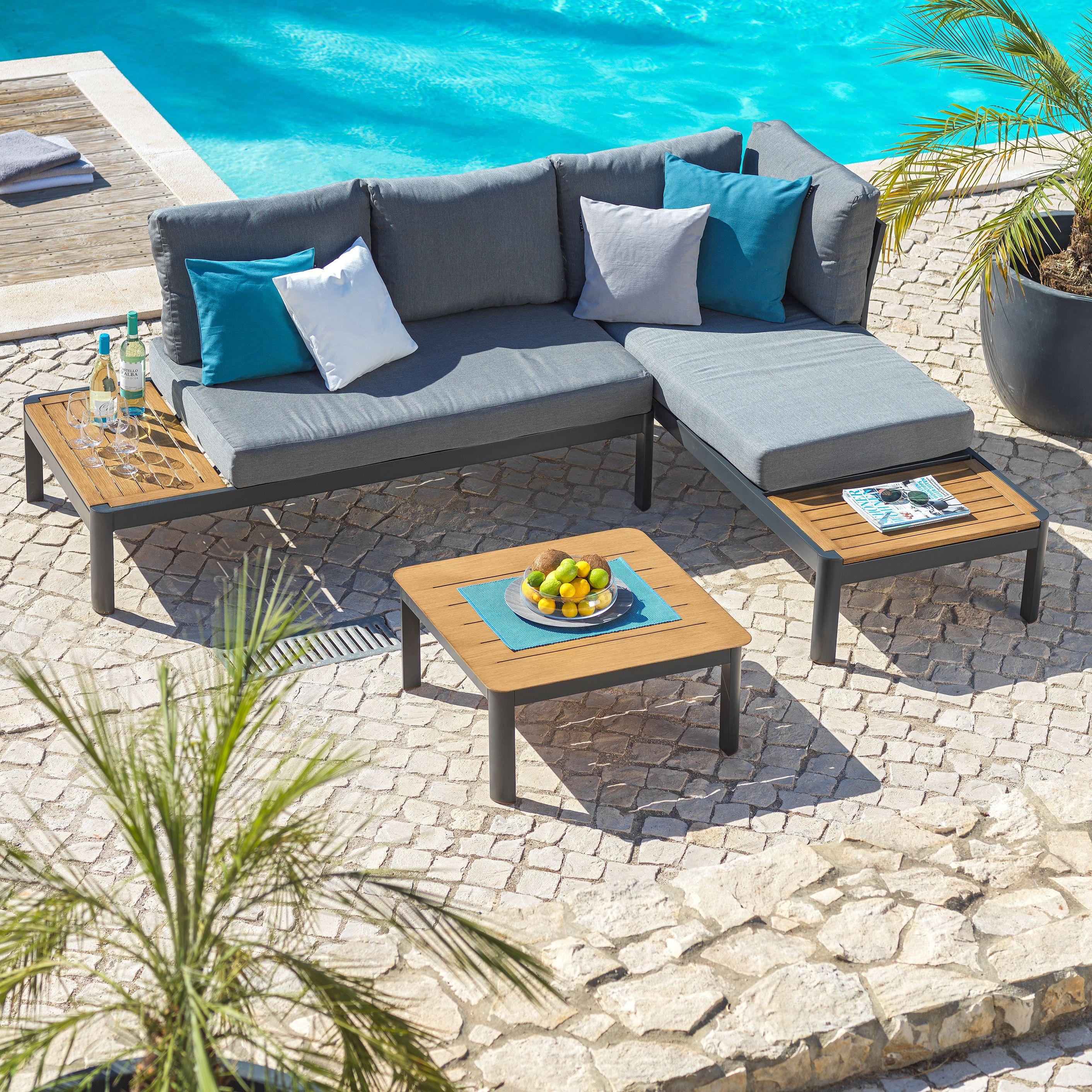 Moderne Gartenlounge Aus Metall Mit Holzelementen Lounge Garnitur Lounge Mobel Balkonmobel Lounge