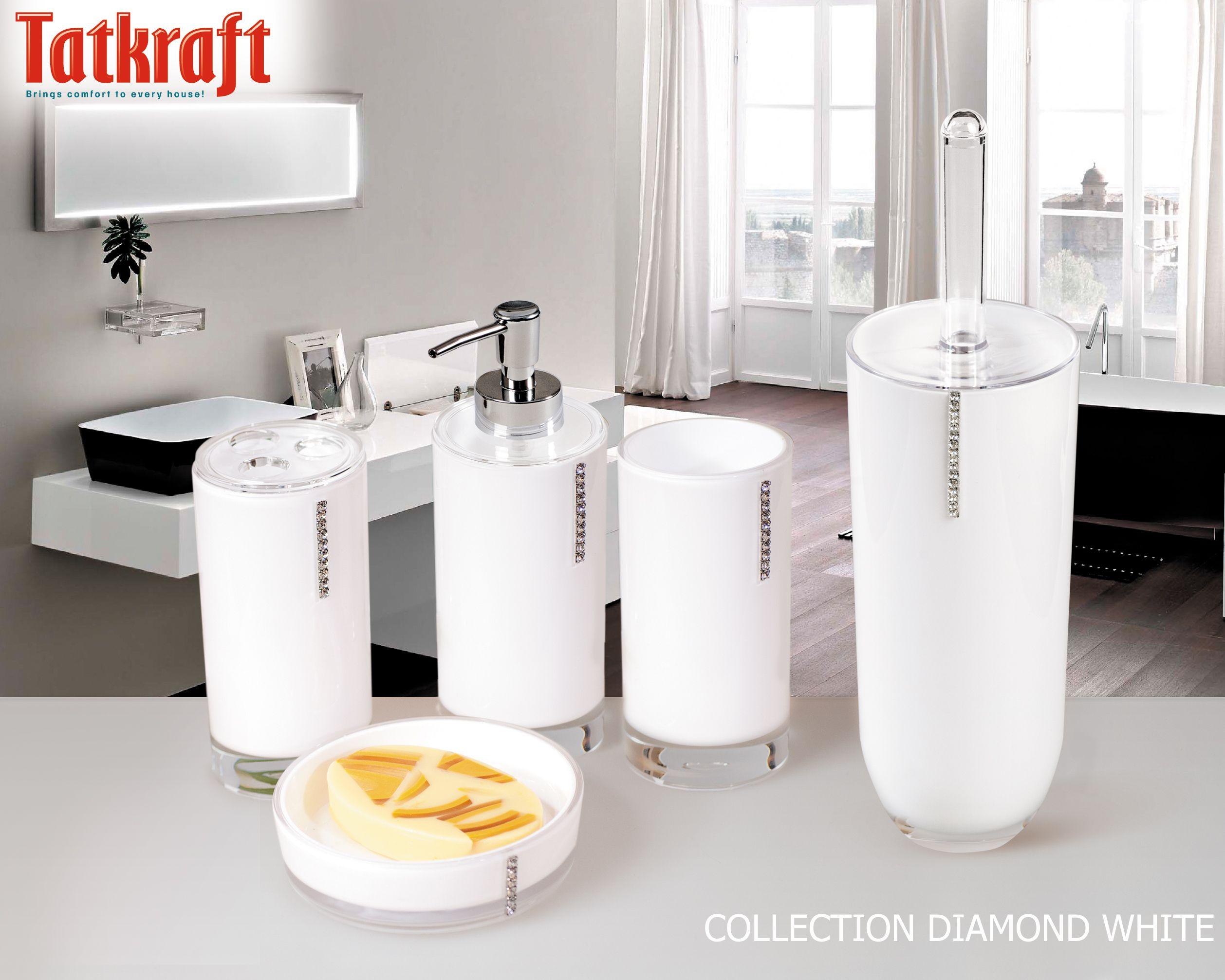collection diamond white from tatkraft amazon uk acrylic bathroom accessories wwwtatkraft - Bathroom Accessories Uk