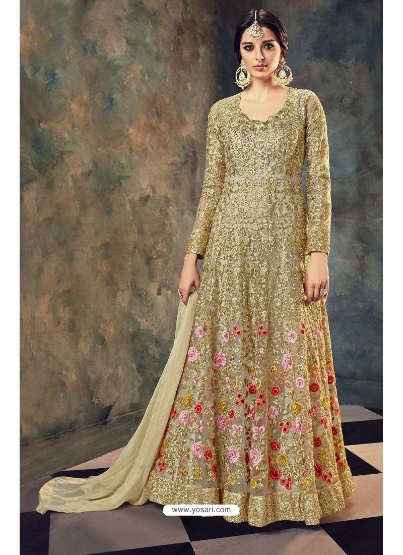 6b8405a590 Golden Butterfly Net Embroidered Designer Floor Length Anarkali Suit ...