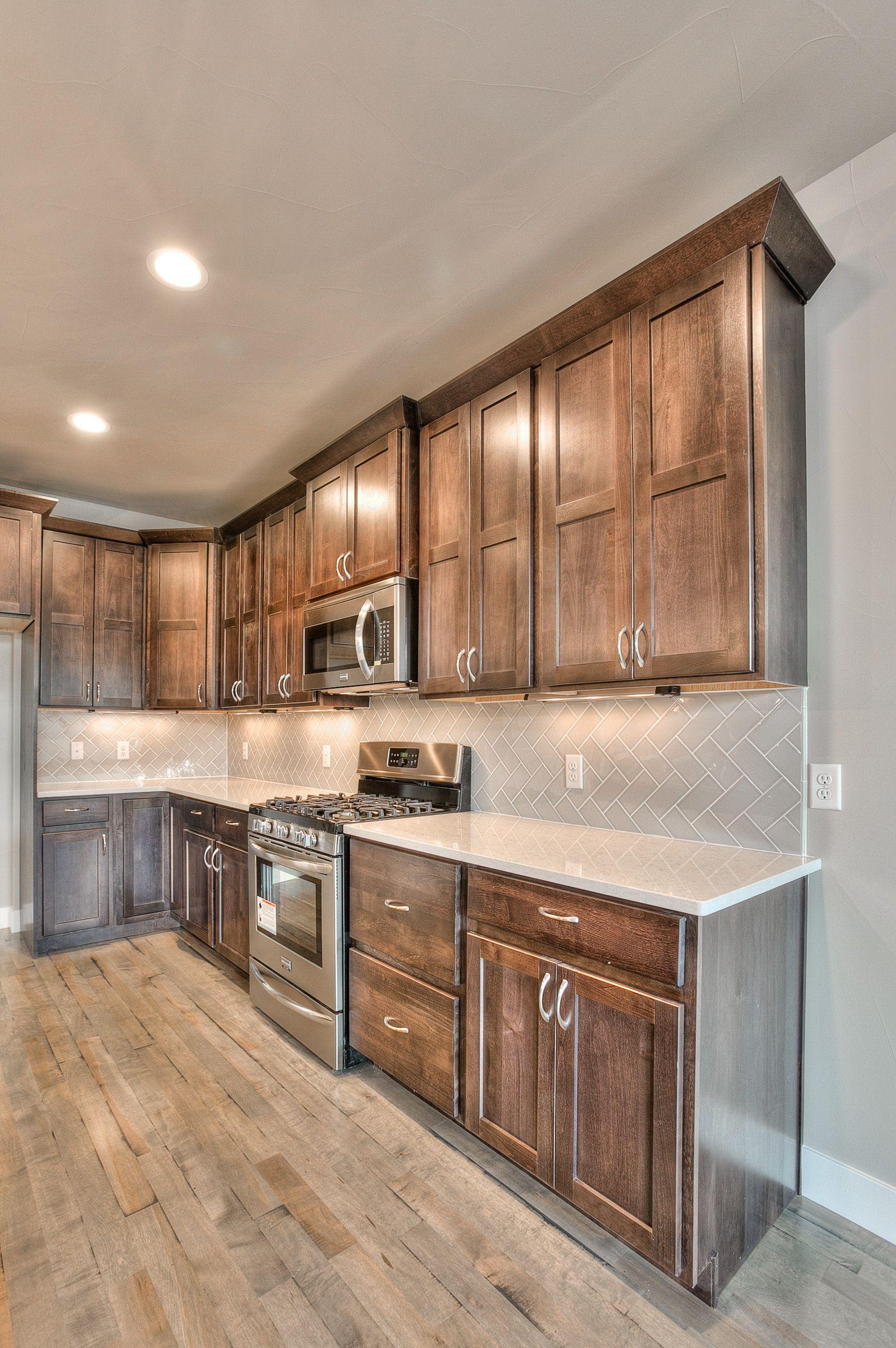 Kitchen Bathrooms Alder Graphite Shaker Cabinets Herringbone Backsplash In Grey To Tie In Concrete Flo Rustic Kitchen Rustic Kitchen Design Kitchen Remodel