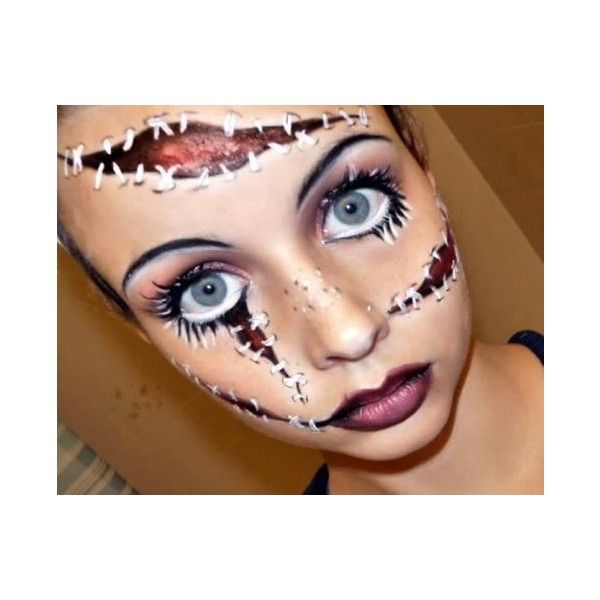 Halloween Makeup Creepy Dolls ❤ liked on Polyvore featuring face - face painting halloween makeup ideas