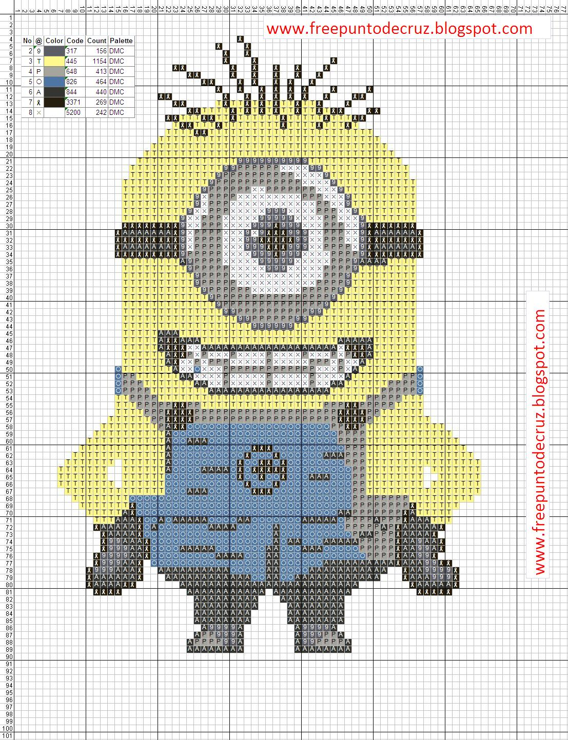 minion cross stitch pattern | ... Punto de Cruz Gratis: Minion Cross ...