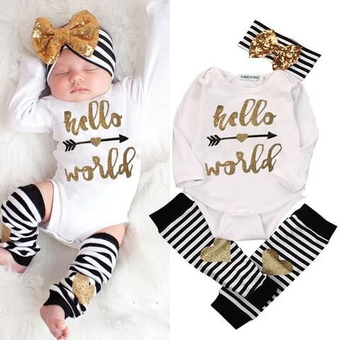 fb7d22990 Infant Baby Girls Hello World Bodysuit Romper+ Leg Warmers Headband Outfits  USA