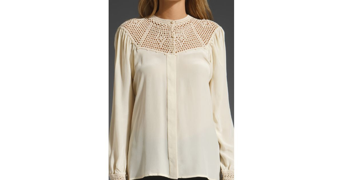 Buy Beyond Vintage Women's White Crochet Yoke Blouse, starting at €152. Similar products also available. SALE now on!