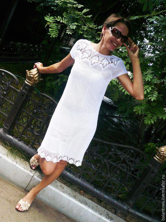 d46b9dedd3f Купить Вязаное платье крючком Кокетка летнее из хлопка - платье ...