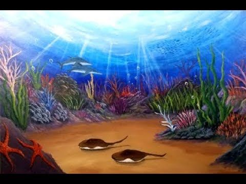Life Underwater Coral Reef Seascape Acrylic Painting Tutorial Youtube Underwater Painting Sea Life Painting Seascape Paintings