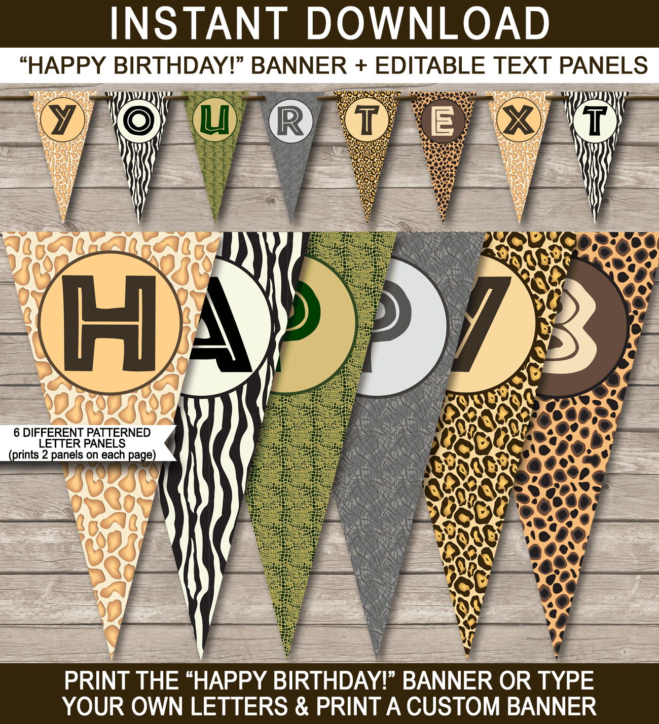 Zoo Or Safari Party Banner Template Bunting Hy Birthday Editable And Printable Diy Instant 4 50 Via