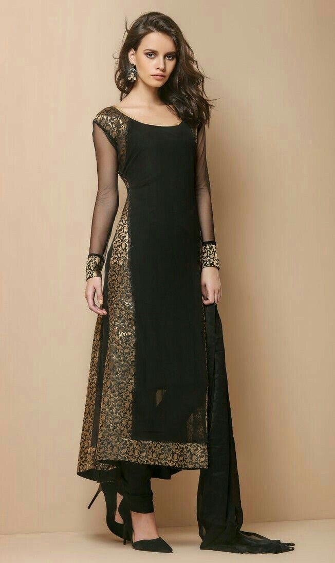 e1cead540a477 Black kurtha is always best for parties   ethnic   Pakistani dresses ...