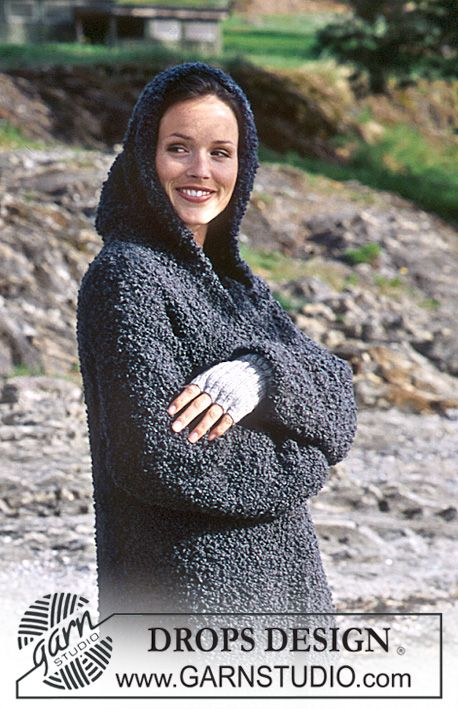 DROPS Long coat with hood in Big Bouclé. Fingerless gloves in Alpaca ...