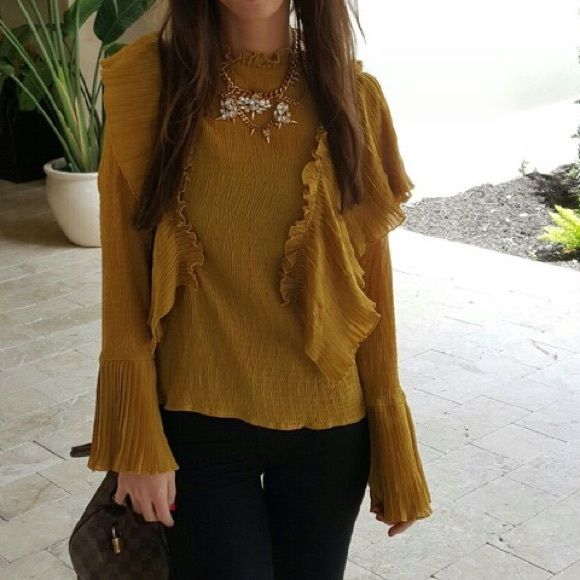 Mustard ChicWish blouse Romantic pretty blouse! Worn once. Chicwish Tops Blouses